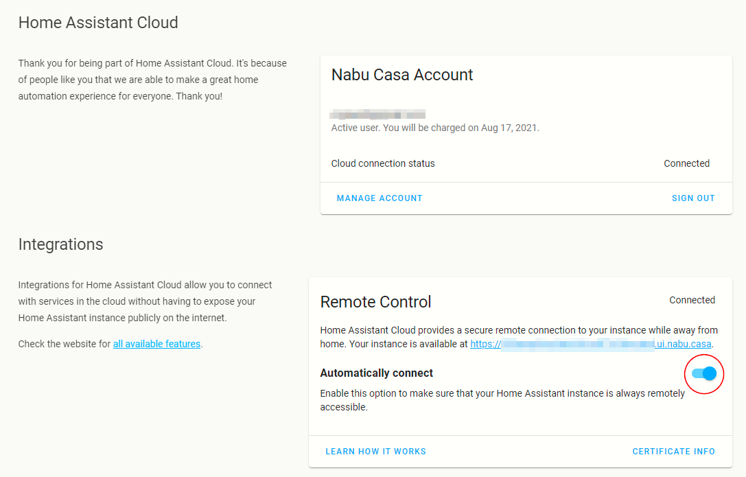Screenshot of the Home Assistant Cloud page.