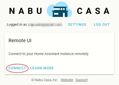 Screenshot of the Nabu Casa account page.